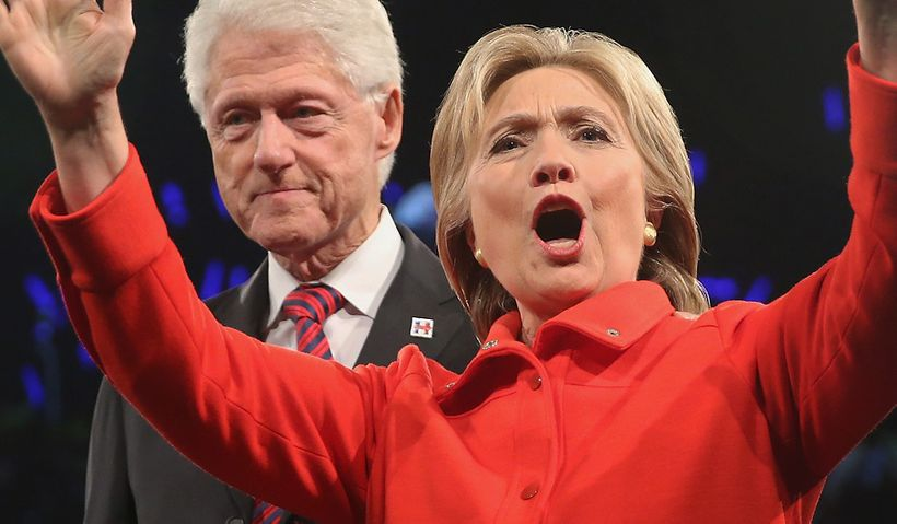 The Clintons at the Jefferson-Jackson Dinner in October.