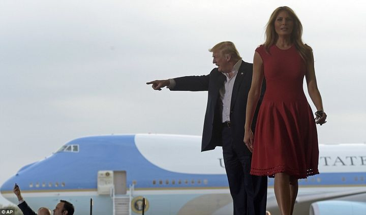 The President and First Lady arrive at a 2020 campaign rally at Orlando Melbourne Airport...in 2017...after the White House s