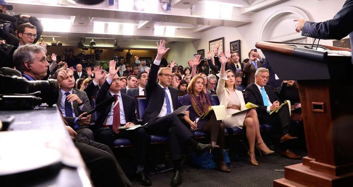 White house Press Corps  during a briefing.