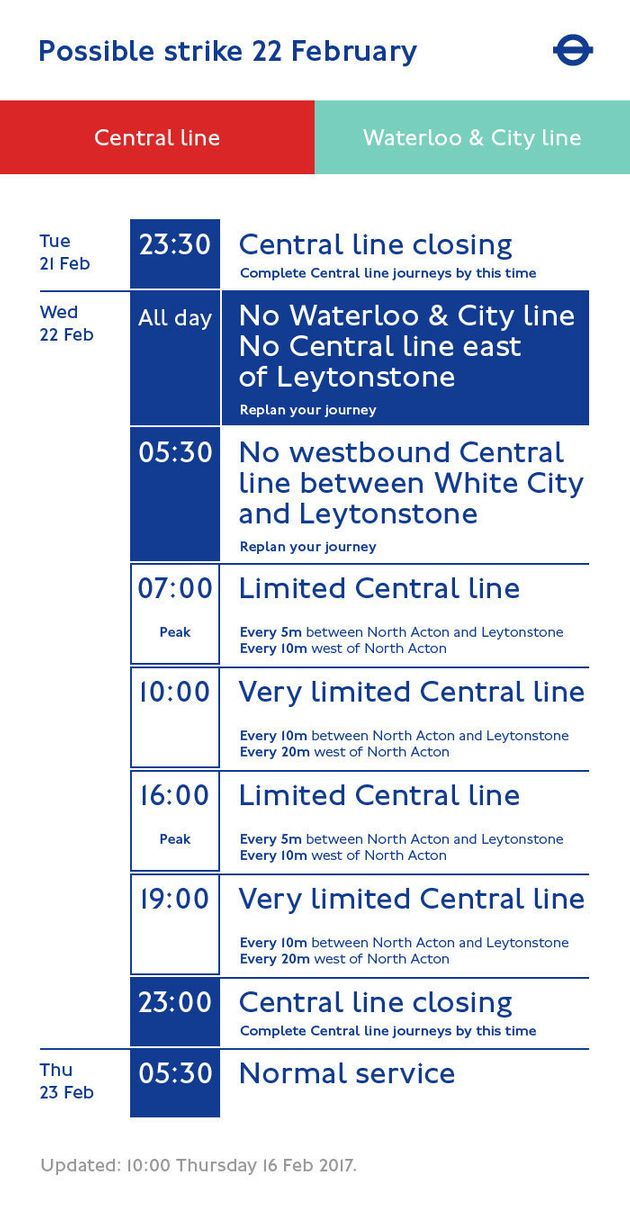 Services affected by the strike are shown