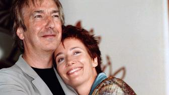 "British actor Alan Rickman (L) embraces actress Emma Thompson during a photo call at the 54th Venice Film Festival, August 28. Rickman makes his debut as a director in the human drama "" The Winter Guest"", starring Oscar-winner Emma Thompson, one of 18 films showing at the Venice Film Festival.  ITALY FILM FESTIVAL"