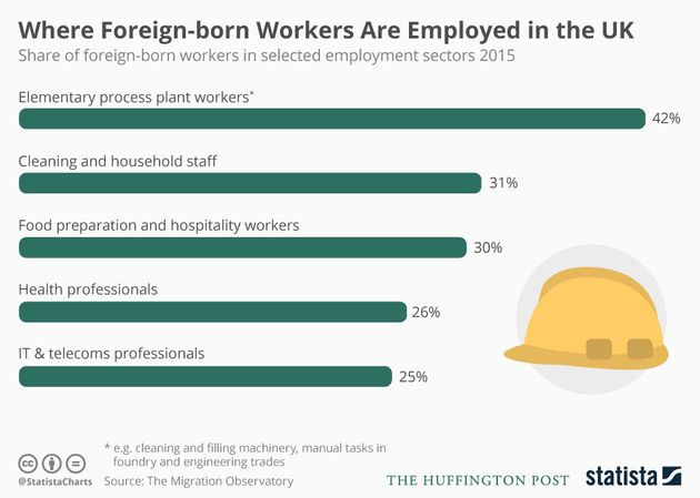 This shows which sectors have the highest proportion of foreign-born