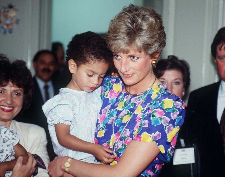 "Princess Diana's ""caring dress,"" worn without a hat to greet abandoned children in Sao Paulo."