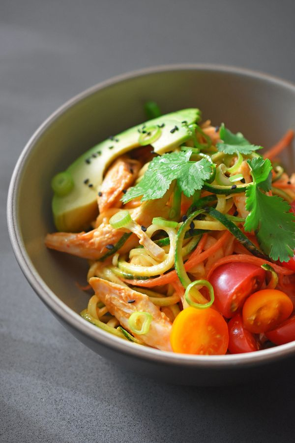 """<strong>Get the <a href=""""http://nomnompaleo.com/post/141120826788/spicy-thai-chicken-zoodle-salad"""" target=""""_blank"""">Spicy Thai"""
