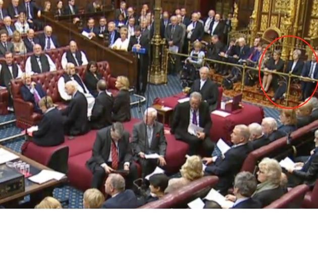 Theresa May watches the Lords during the Brexit bill