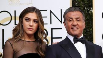 Actor Sylvester Stallone poses with his wife Jennifer Flavin (C), and their daughters, 2017 Miss Golden Globe Sistine Stallone (L), Scarlet Stallone (2nd R) and Sophia Stallone during the 74th Annual Golden Globe Awards in Beverly Hills, California, U.S., January 8, 2017.   REUTERS/Mike Blake     TPX IMAGES OF THE DAY