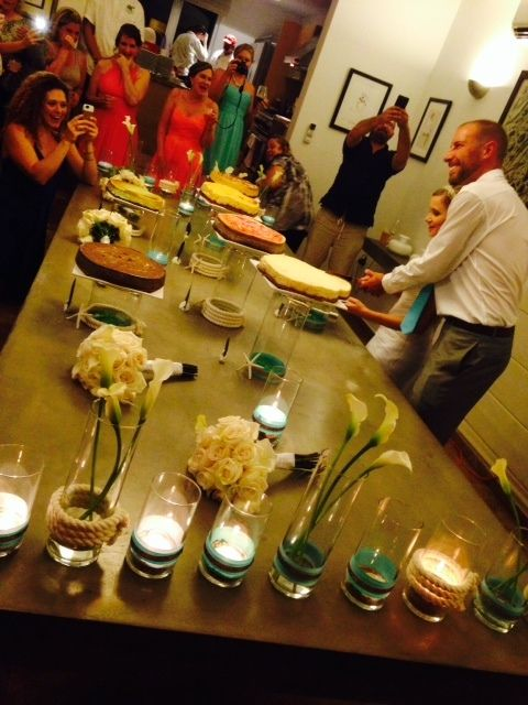 Jaclyn and Tim Kraft chose to serve a cheesecake buffet featuring seven different flavors, in lieu of a traditional wedding c