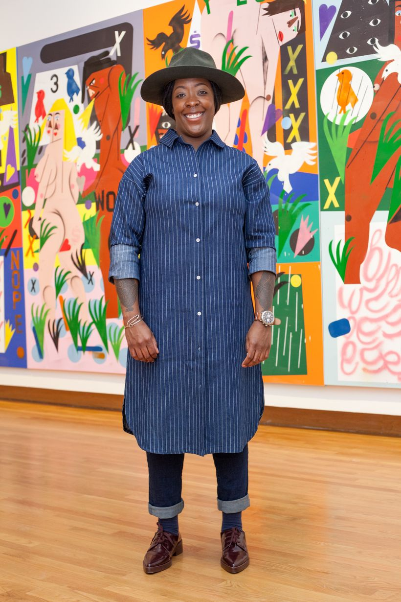 "Nina Chanel Abney at the opening of her show ""Royal Flush"" at the Nasher Museum of Art at Duke University."