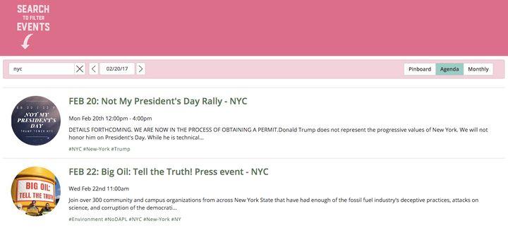 These are some events listed on the Resistance Calendar for NYC, on Monday, Feb. 20.