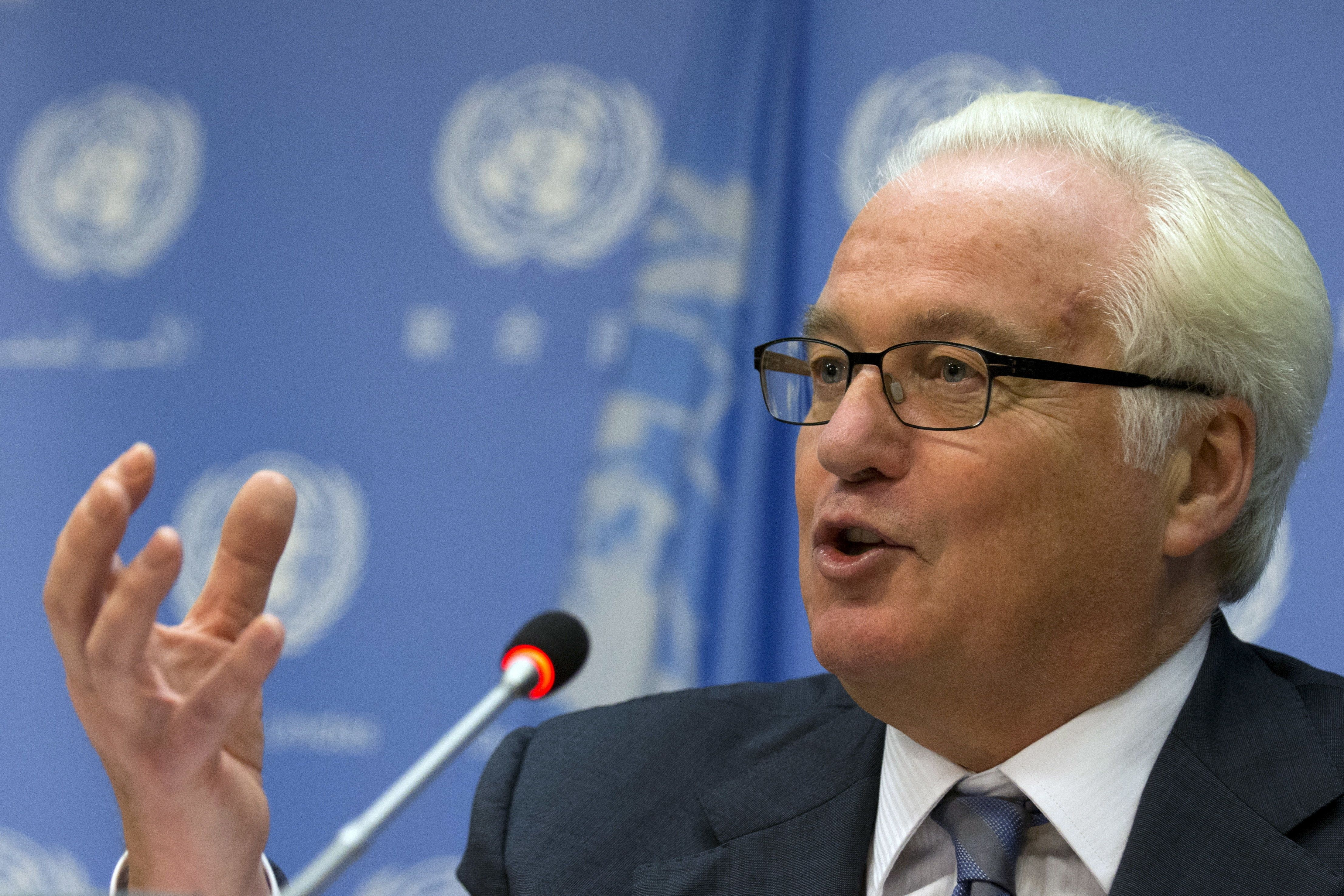 Russian ambassador to the United Nations Vitaly Churkin speaks during a news conference at the U.N. headquarters in New York September 2, 2015. Russia will be taking its turn at the rotating presidency of the UN Security Council during the month of September.  REUTERS/Brendan McDermid