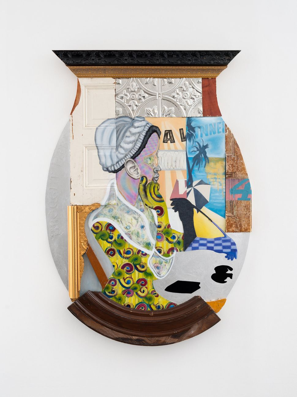 """David Shrobe, """"Ear to the Streets,"""" 2017, oil, graphite, spray paint, wood, frame moldings, silver leaf, and mixed media, 67"""