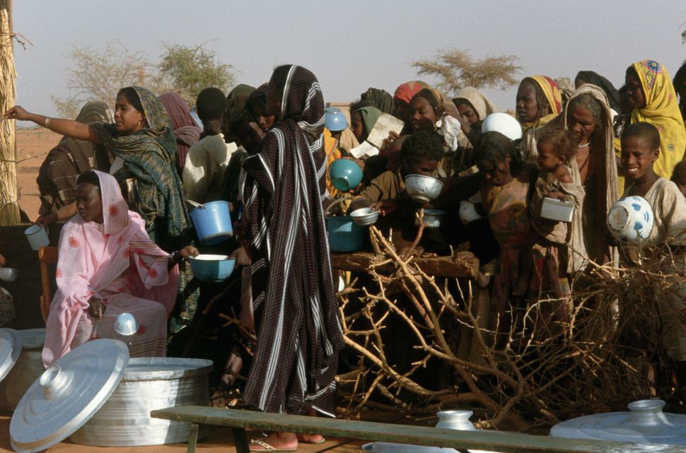 Scenes of the feeding program in famine plagued Western Sudan on Dec. 1984.