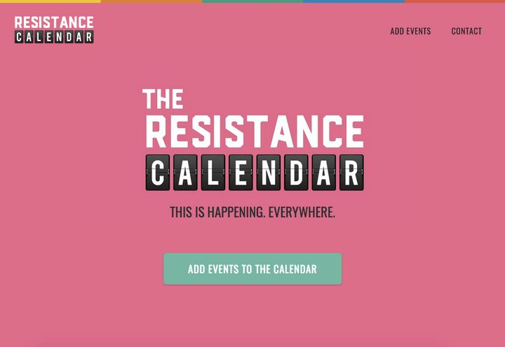 The homepage of the Resistance Calendar website.