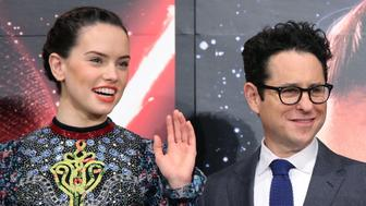 URAYASU, JAPAN - DECEMBER 11:  Actress Daisy Ridley and director J.J. Abrams wave to the media during the press conference for 'Star Wars: The Force Awakens' Japan premiere at the Sheraton Grande Tokyo Bay Hotel on December 11, 2015 in Urayasu, Japan.  (Photo by Yuriko Nakao/Getty Images)