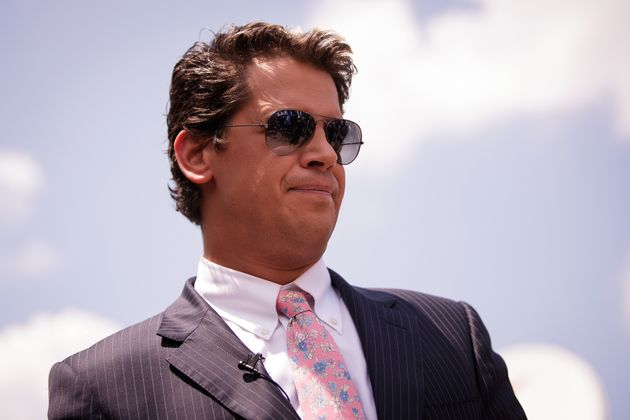 Milo Yiannopoulos, a conservative columnist and internet personality, holds a press conference down the...