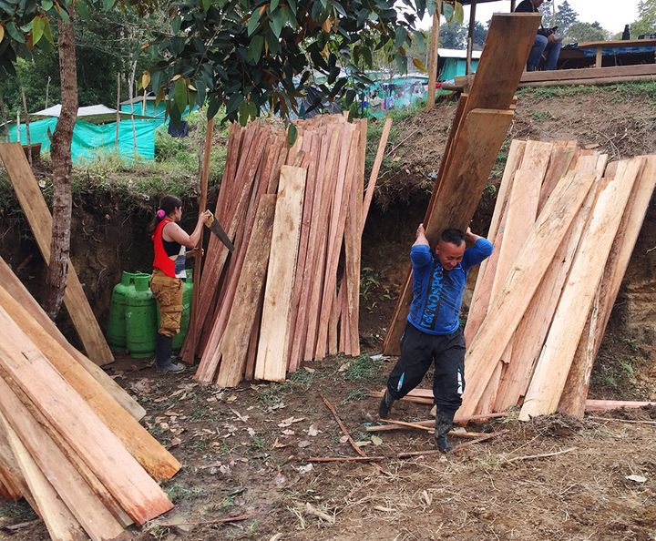 Former FARC guerrillas are constructing a village in one of the country's 26 transition zones.