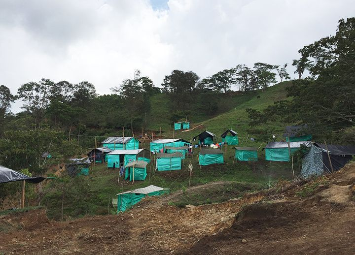 People are living in tents in a FARC transition zone in Icononzo, Colombia.
