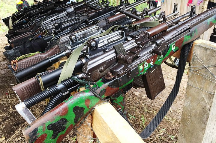 A gun depot in one of the FARC transitionzones in Icononzo, Colombia.