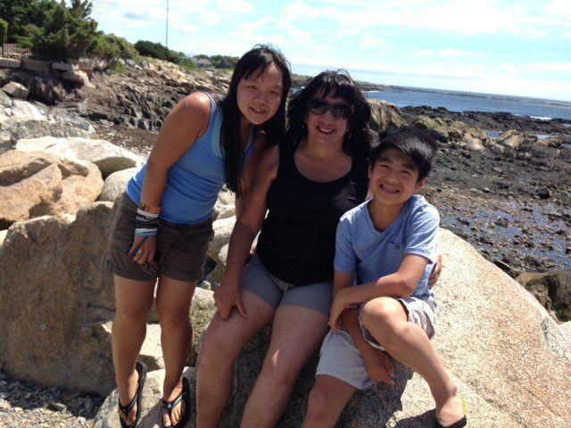 The author and her two children on vacation.