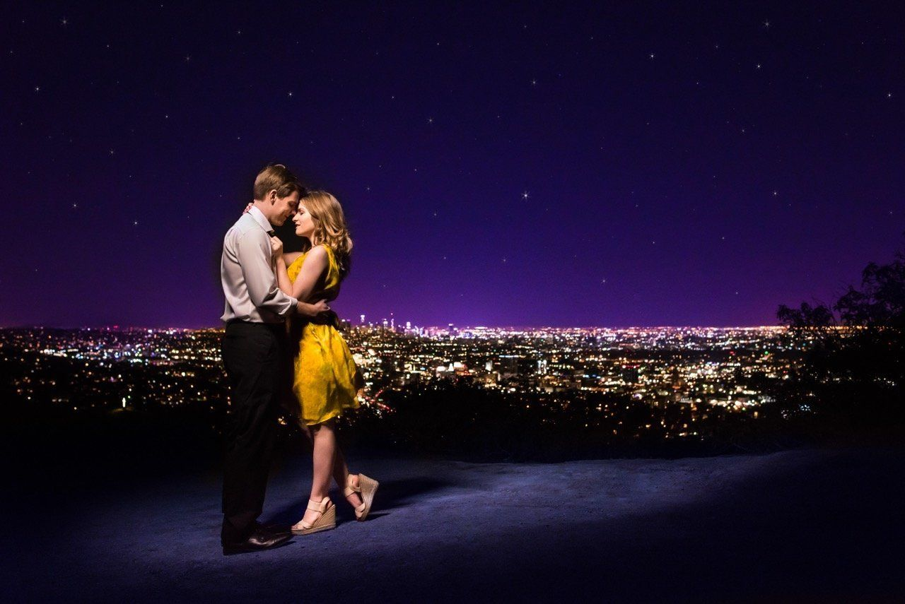 "The couple channeled ""La La Land's"" Mia and Sebastian during the engagement shoot."