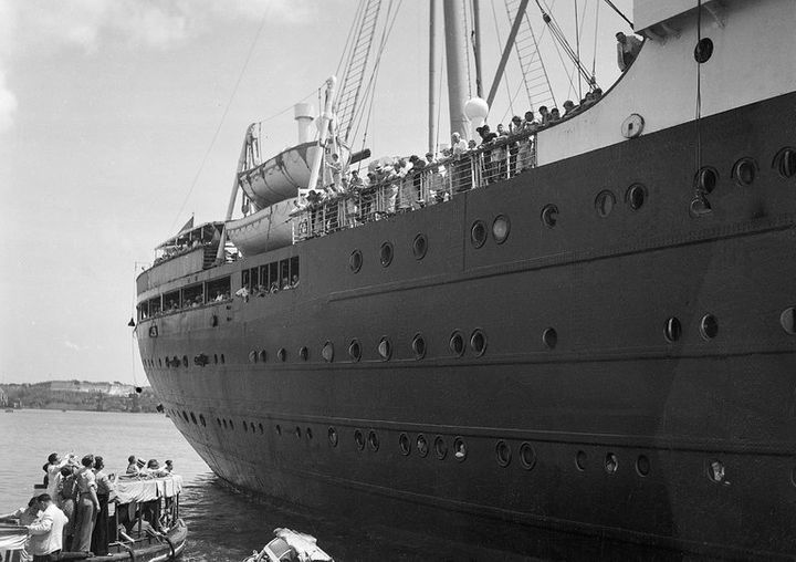 The German liner St. Louis, carrying about 900 German Jewish refugees, was denied entrance to the Havana harbor in 1939. The