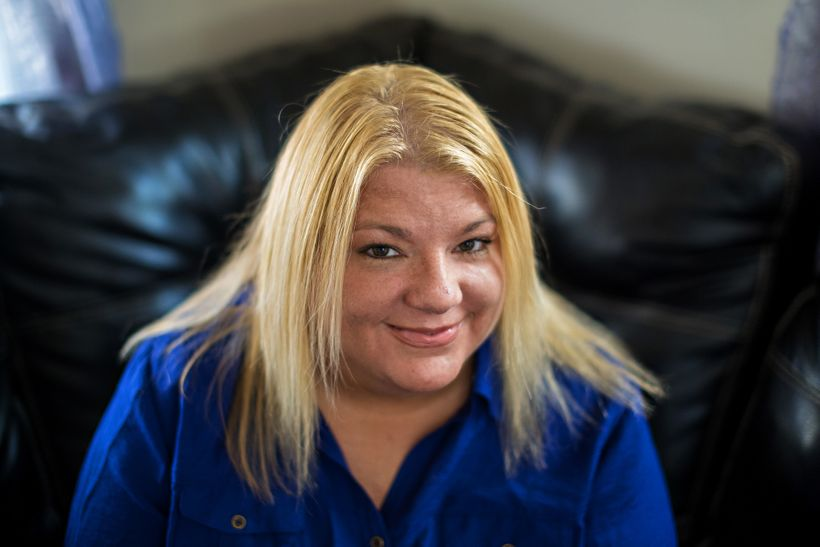 """Rosie Palfy, Marine veteran, MST survivor, homelessness advocate, at home outside Cleveland. Photo by <a rel=""""nofollow"""" href="""