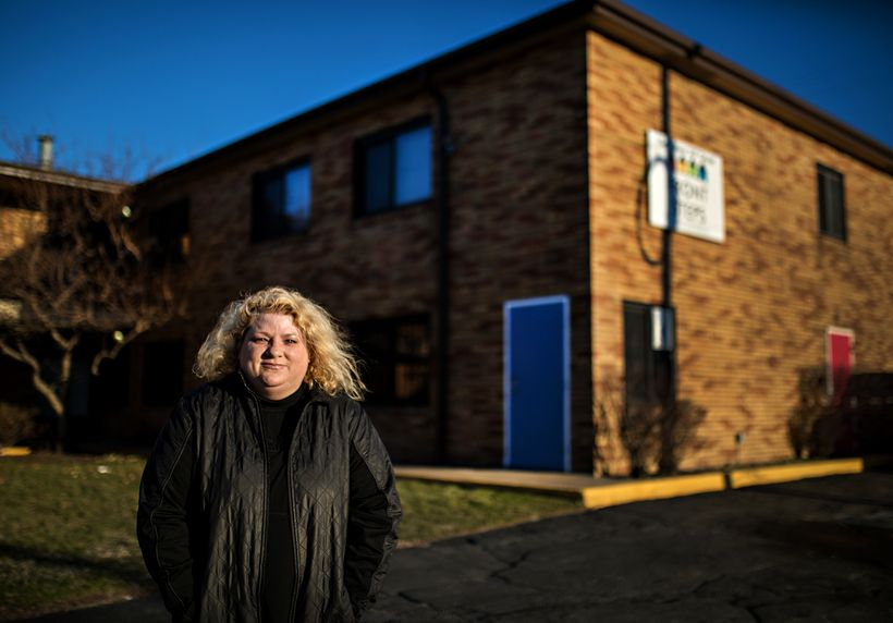 "Rosie Palfy, Marine veteran, MST survivor, homelessness advocate, outside her old transitional housing provider, <a rel=""nofo"