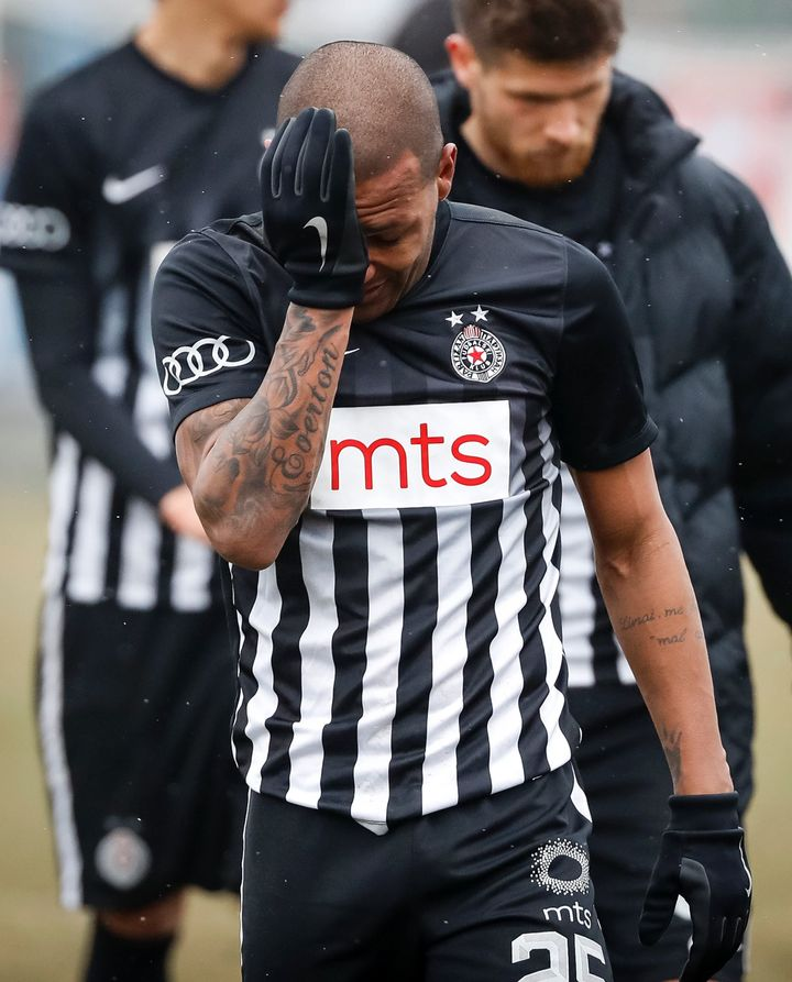 Partizan Belgrade's Everton Luiz in tears after racist abuse against Rad