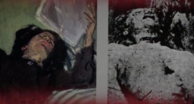 Cornwell draws similarities between the Ripper victim's neck wound (right) and the necklace worn by a...