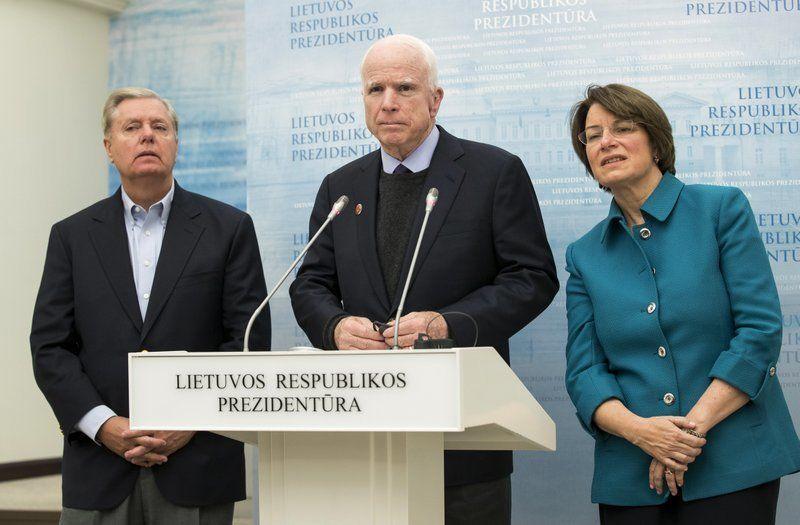 "Senators Lindsey Graham, John McCain and Amy Klobuchar (D-Minnesota), in Lithuania, <a rel=""nofollow"" href=""https://apnews.co"