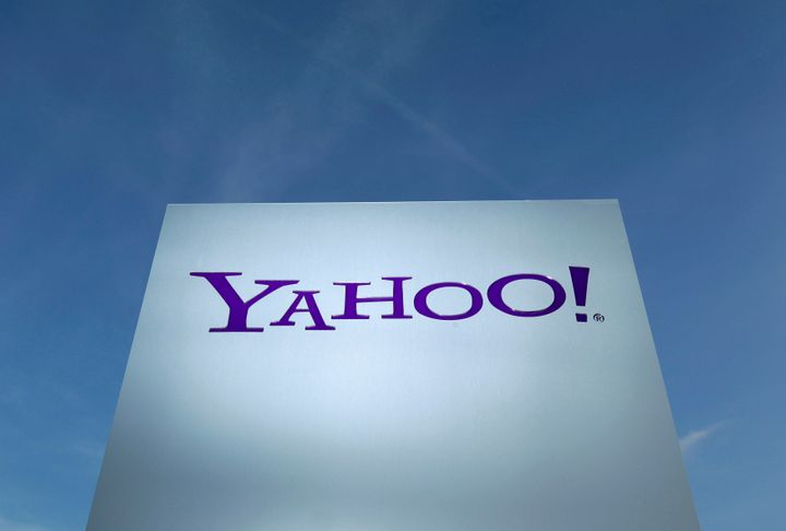 A Yahoo logo is pictured in front of a building in Rolle, Switzerland December 12, 2012. (REUTERS/Denis Balibouse/File Photo)
