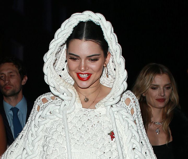 Kendall Jenner arriving at Cirque le Soir club after attending the Love Me 17 X Burberry party on Feb. 20.