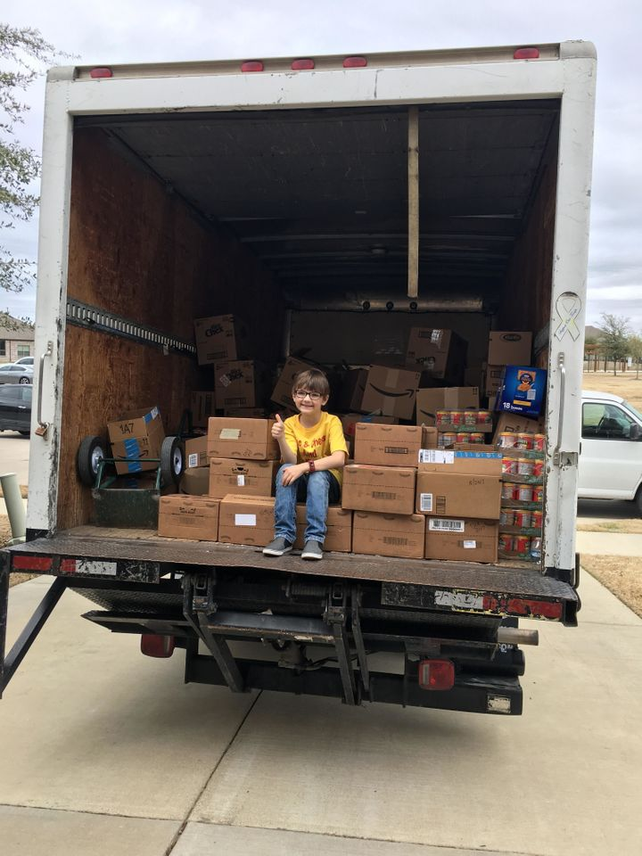 The first-grader made a goal to have 5,000 items donated through Mac & Cheese and Pancakes.