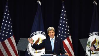 WASHINGTON, Dec. 28, 2016: U.S. Secretary of State John Kerry delivers remarks on Middle East peace at the U.S. State Department in Washington D.C., the United States, on Dec. 28, 2016. U.S. Secretary of State John Kerry said on Wednesday only two-state solution can achieve a just and lasting peace between Israelis and Palestinians. (Xinhua/Yin Bogu via Getty Images)