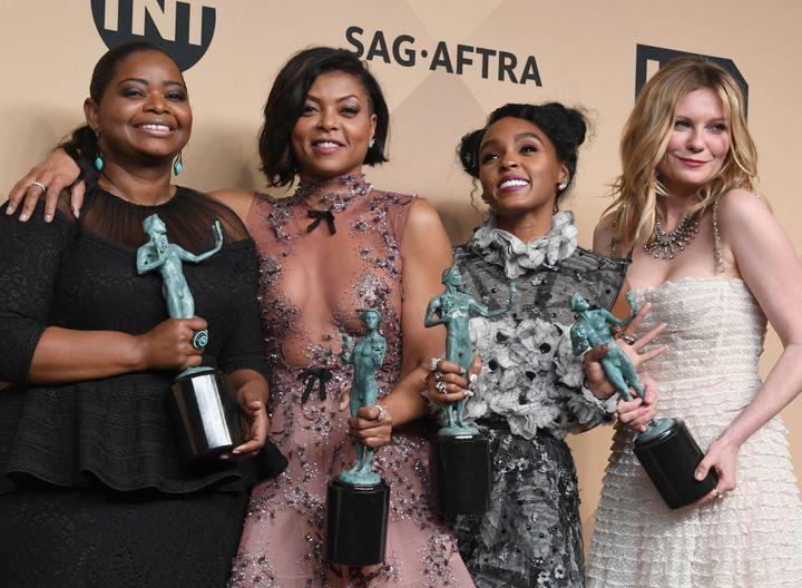 "Octavia Spencer, Taraji P. Henson, Janelle Monae and Kirsten Dunst, who all star in 2016s ""Hidden Figures."""