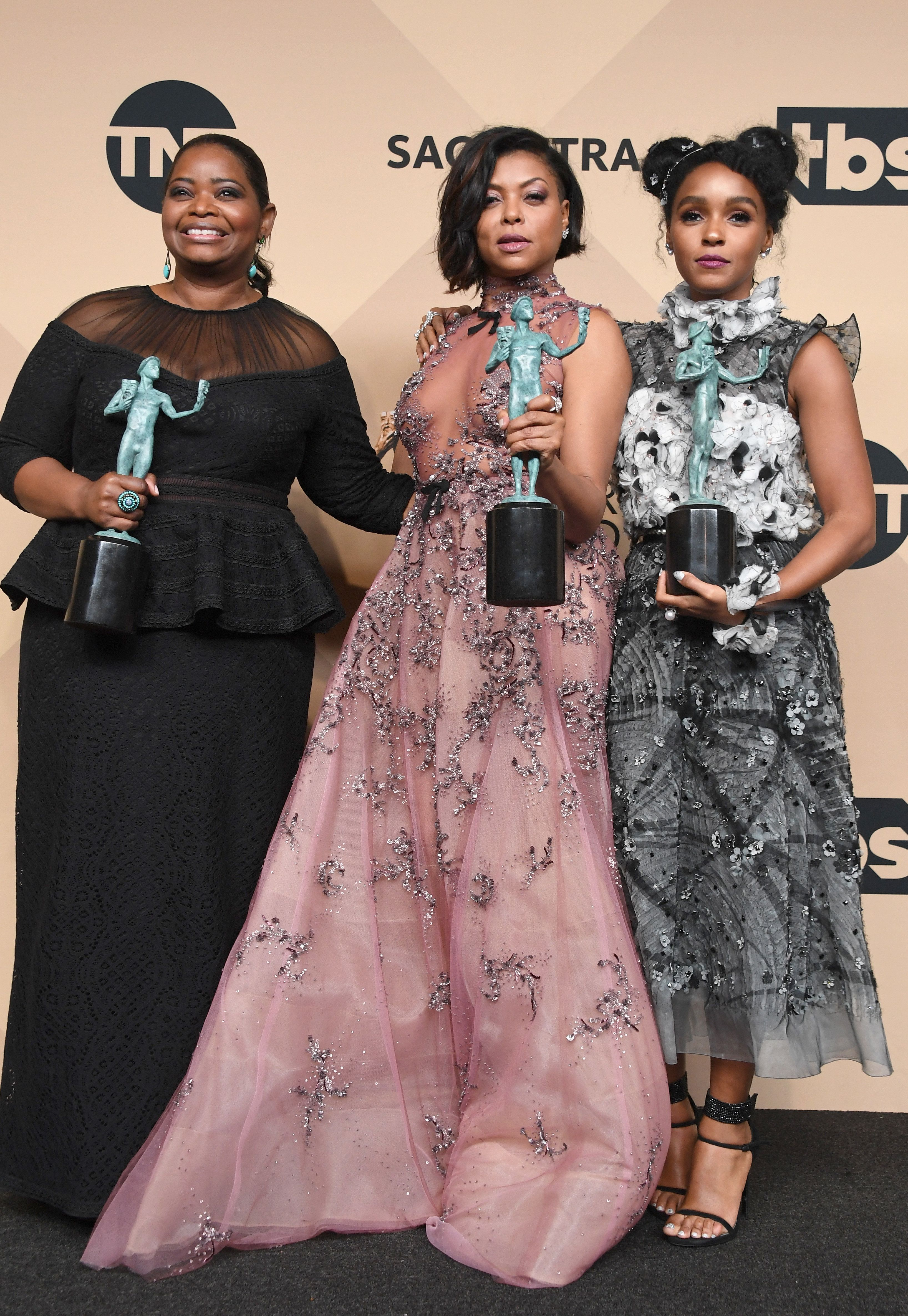 LOS ANGELES, CA - JANUARY 29:  (L-R) Actors Octavia Spencer, Taraji P. Henson and Janelle Monae co-recipients of the Outstanding Performance by a Cast in a Motion Picture award for 'Hidden Figures,' poses in the press room during the 23rd Annual Screen Actors Guild Awards at The Shrine Expo Hall on January 29, 2017 in Los Angeles, California.  (Photo by Alberto E. Rodriguez/Getty Images)