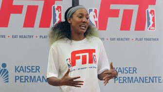 MAUI, HI - OCTOBER 06:  Candice Wiggins #2 of the New York Liberty hosts a WNBA FIT Clinic at Maui Family YMCA on October 6, 2015 in Maui, Hawaii. NOTE TO USER: User expressly acknowledges and agrees that, by downloading and/or using this Photograph, user is consenting to the terms and conditions of the Getty Images License Agreement. Mandatory Copyright Notice: Copyright 2015 NBAE (Photo by Jay Metzger/NBAE via Getty Images)