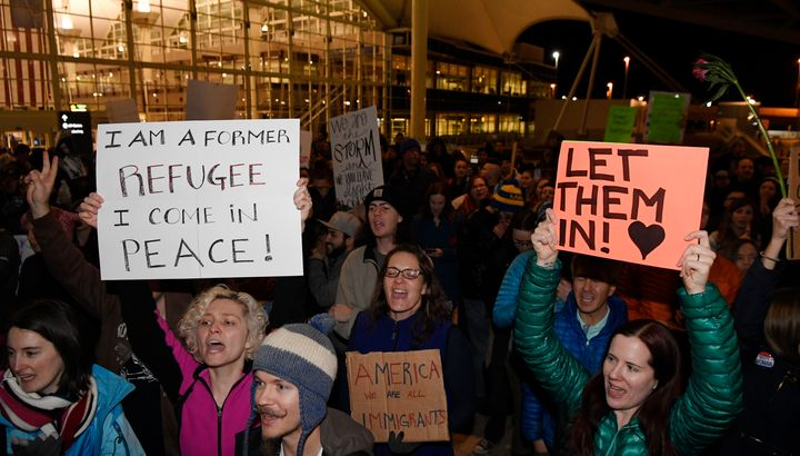 Protesters showed up at Denver International Airport on Jan. 28, to protest President Donald Trump's ban on refugees and trav