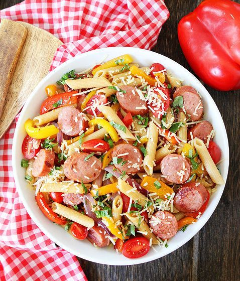 Red pepper and spicy sausage pasta.