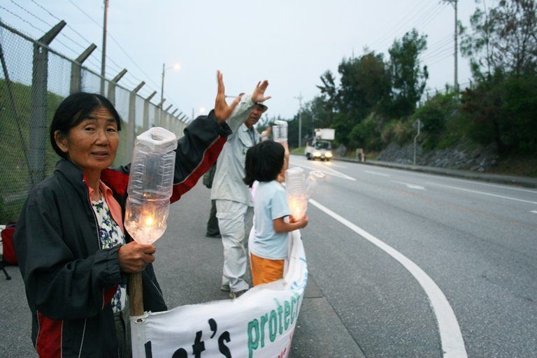 Etsuko Urashima 68 protests against the relocation of a US Marine Corps base to the northern part of Okinawa island in Japan