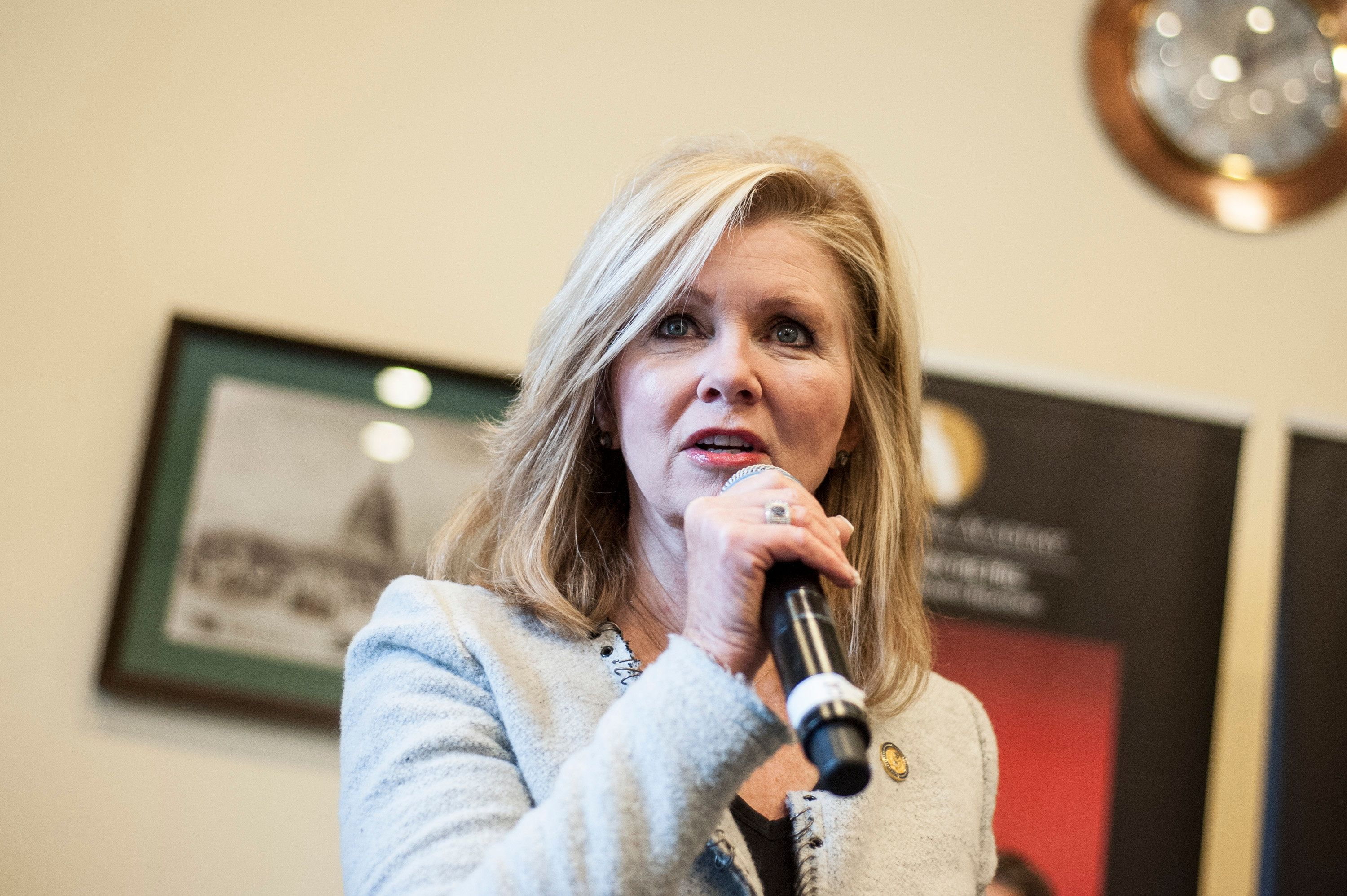 WASHINGTON, DC - JANUARY 16: Marsha Blackburn speaks during The Recording Academy's Hosts A 'Musical Briefing And Welcome To The 113th Congress' at Rayburn House Office Building on January 16, 2013 in Washington, DC. (Photo by Kris Connor/Getty Images)