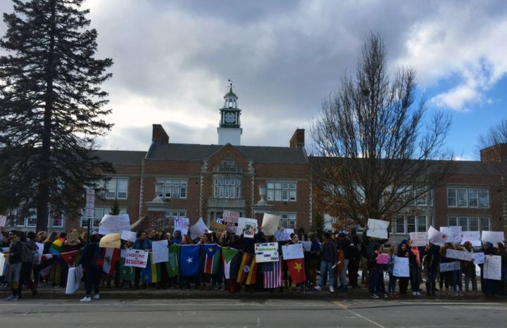 Several hundred students gathered after school on a recent Friday outside Deering High School in a rally in support of Casco