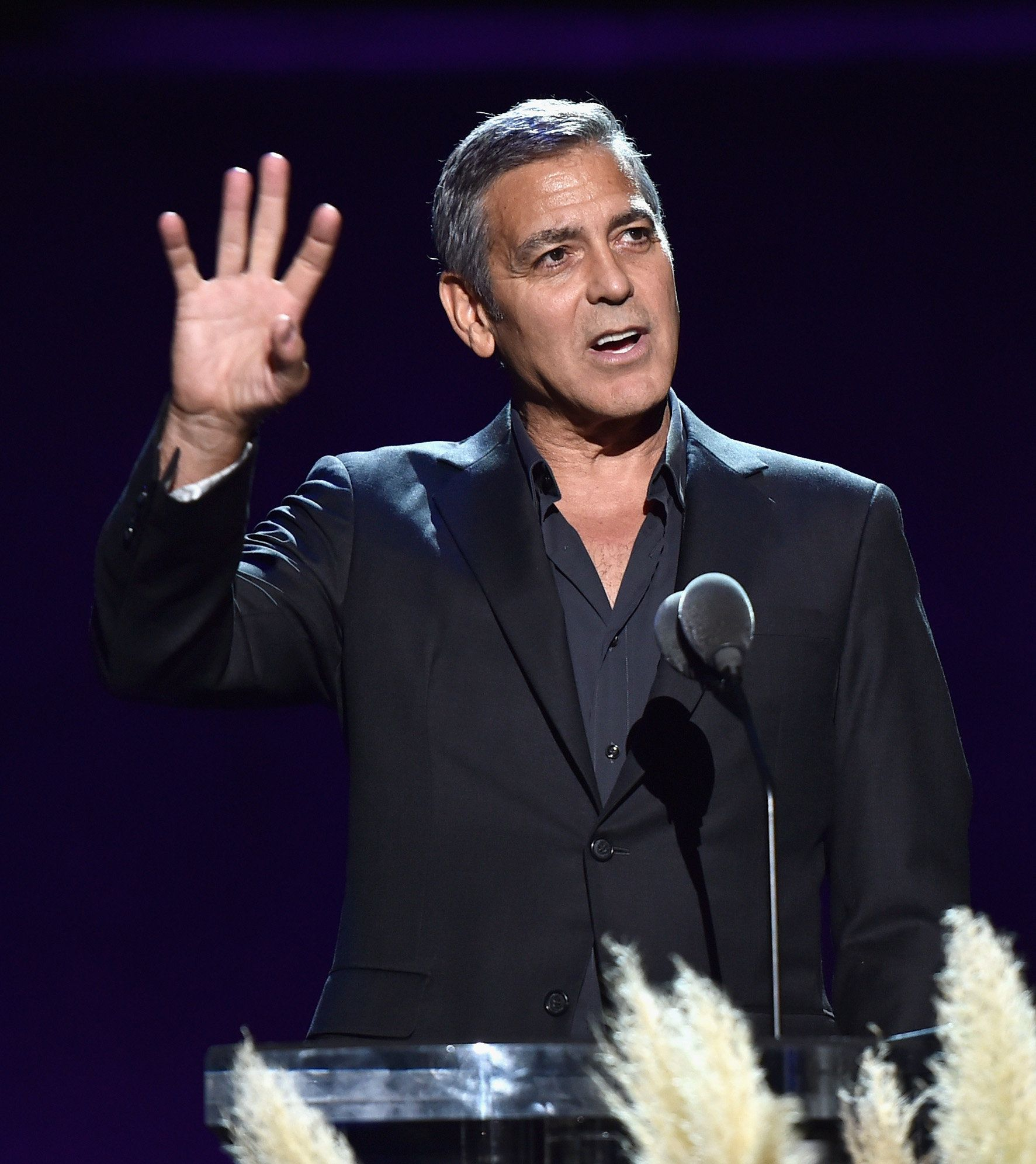 LOS ANGELES, CA - OCTOBER 01:  Host George Clooney speaks onstage during the MPTF 95th anniversary celebration with 'Hollywood's Night Under The Stars' at MPTF Wasserman Campus on October 1, 2016 in Los Angeles, California.  (Photo by Alberto E. Rodriguez/Getty Images for MPTF)