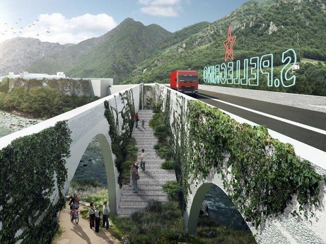 <p>A rendering of Bjarke Ingels Group's winning design for the new San Pellegrino headquarters, inspired by the winding Brembo River as well as Italian architectural traditions.</p>