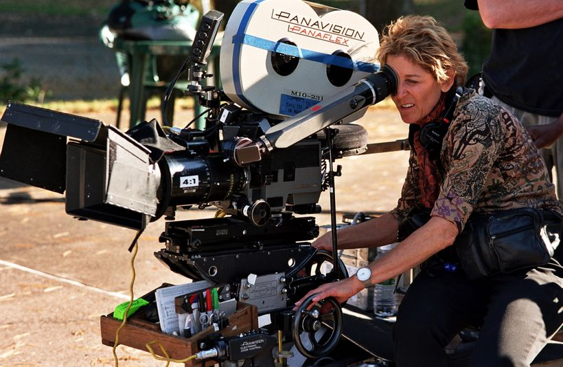 Cinematographer Nancy Schreiber, ASC on the set of <em>Loverboy</em>, directed by Kevin Bacon.
