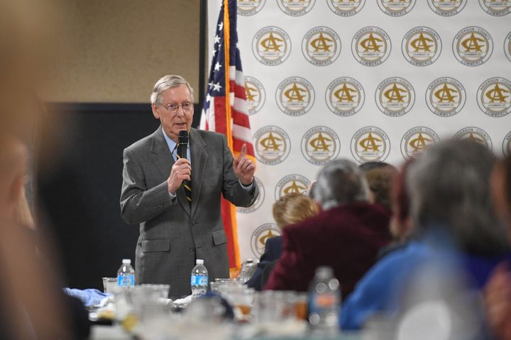 Senate Majority Leader Mitch McConnell speaks to the crowd at the Anderson County Chamber of Commerce luncheon in Lawrencebur
