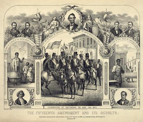 A print commemorating the Fifteenth Amendment featuring Black people's advancement.