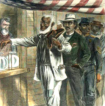 """""""The First Vote"""" from <em>Harper's Weekly</em>."""