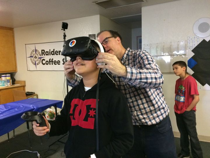 <em>Jesus Saucedo, fifth grader at Lincoln Elementary in Manteca, gives virtual reality a try.</em>