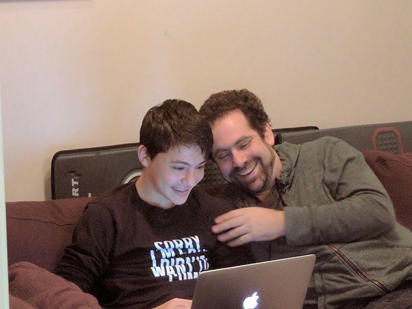 <em>Zev with his father</em>
